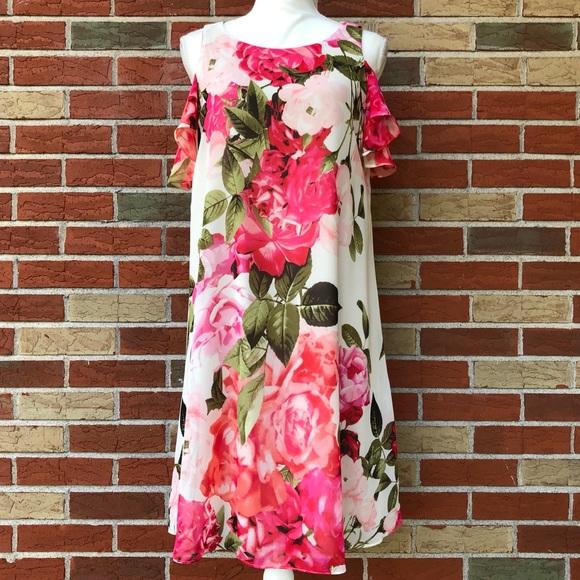 ☀️  Eliza J Floral Cold Shoulder Keyhole Dress